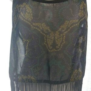 NWOT Sexy Sheer Ali and Kris Black Fringe Tank